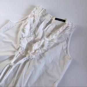 Zara Basic ruffle neckline sleeveless top